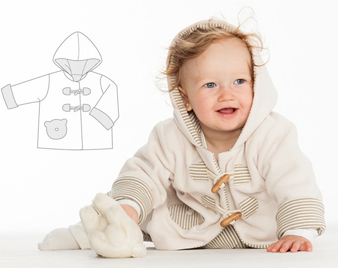 Baby girls + boys duffle coat sewing pattern pdf. Easy lined hoodie jacket with sleeve cuffs BRIO by Patternforkids
