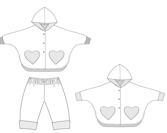 Girls baby poncho and pants sewing pattern. Lined unisex reversible cape with sleeves + hood bundle MARA + FIOCCO. Paper pattern