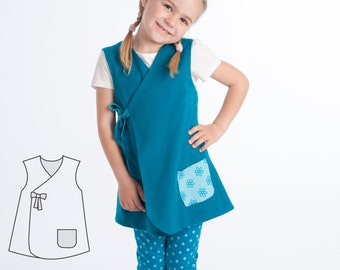 Baby dress sewing pattern for girls. Easy lined tunic wrap dress. Ebook pdf reversible dress with or without sleeves MARIE by Patternforkids