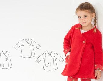Baby Girls Dress Jacket sewing pattern Pdf. Easy infant dress for summer or coat for winter. Ebook pdf LENA by Patternforkids