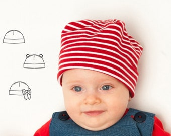 Easy Baby Beanie Hat sewing pattern pdf for Children Boy + Girl,newborn to 3Y, in 3 Versions, Fully lined + Unlined BUBU from Patternforkids