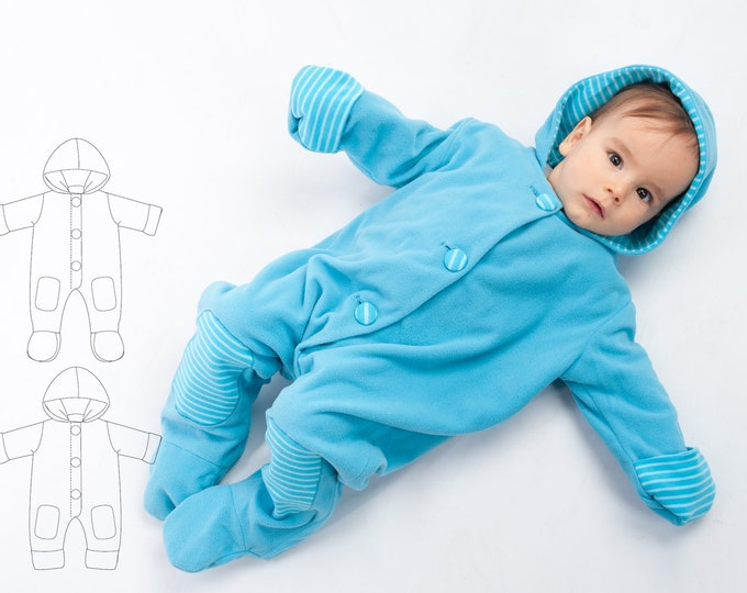 Baby Overall Jumpsuit sewing pattern pdf for girl and boy with hood, feet and arm wrap, lined. Toddler Dungaree DORIAN by Patternforkids