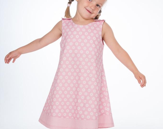 Easy baby girls pinafore dress sewing pattern w. hem + buttons. Sleeveless tunic pattern for baby + kids ebook pdf STEFFI by Patternforkids