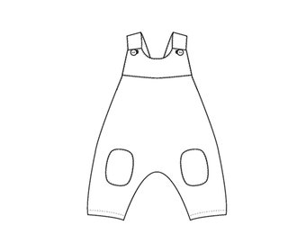Baby girls + boys overall dungaree sewing pattern with shoulder straps and yoke on the back. Toddler jumpsuit for summer + winter ARTURO