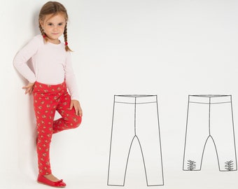Baby girl leggings pattern. Easy stretch pants sewing pattern for girls and boys. 9M to 6Y ebook pdf download ENNA by Patternforkids