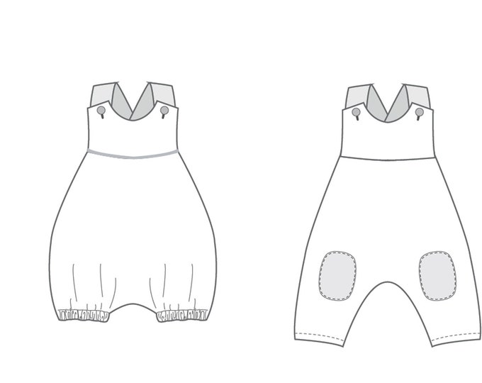 """Baby dungaree pattern without center seam with bows or buttons. 2 models bundle """"Lotte"""" and """"Arturo"""" by Pattern4kids"""