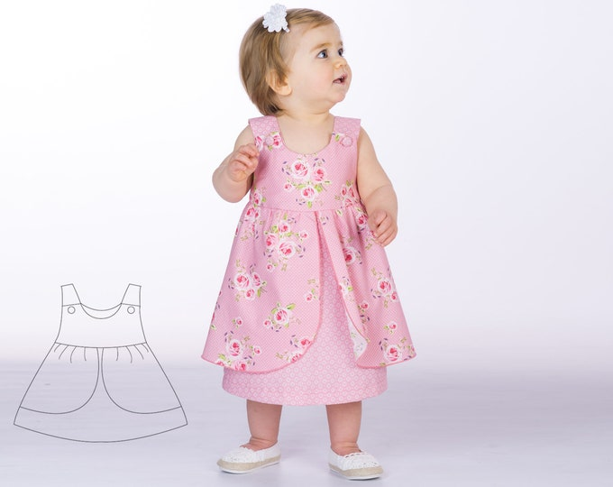 Baby girls pinafore dress sewing pattern pdf with bows or buttons sizes 1M to 3Y. Easy pattern for children. Ebook ROSA by Patternforkids