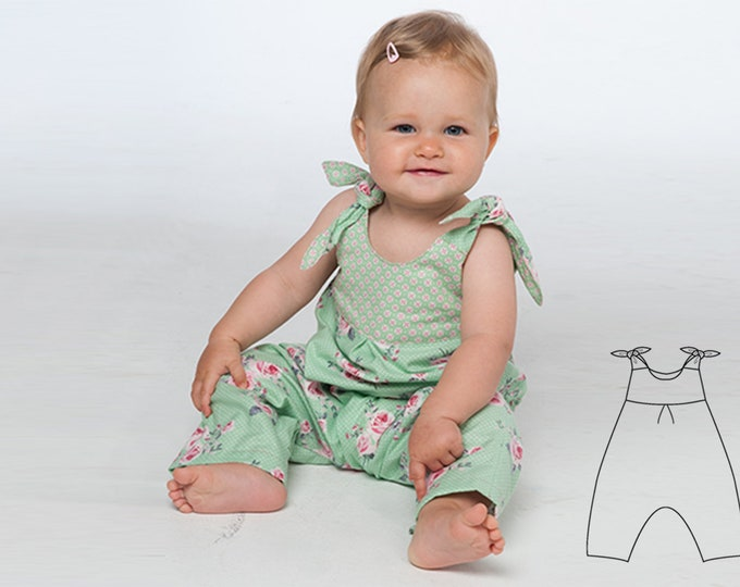 Baby girls overall sewing pattern pdf with bows and yoke on the back. Toddler jumpsuit dungaree for summer + winter LOTTE by Patternforkids
