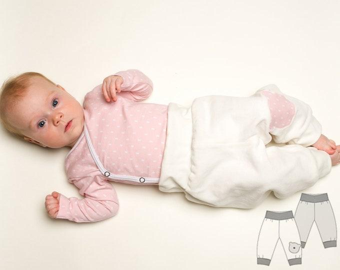 Baby yoga pants pdf pattern for boys + girls. Sweatpants, reversible harem pants with ribbing sewing pattern BEBE by Patternforkids