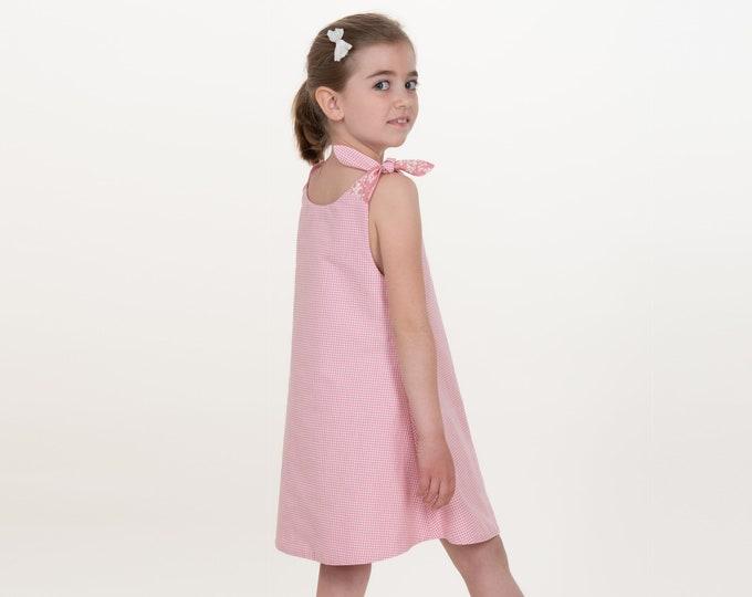Easy baby girls pinafore dress sewing pattern w. hem + buttons. Sleeveless tunic pattern for baby + kids ebook pdf JULE by Patternforkids