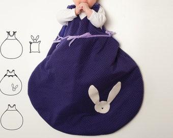 Baby sleep sack easy pdf pattern with bunny. Sleeping bag for newborn balloon shape ebook sewing pattern TONDO + TONDINO by Patternforkids