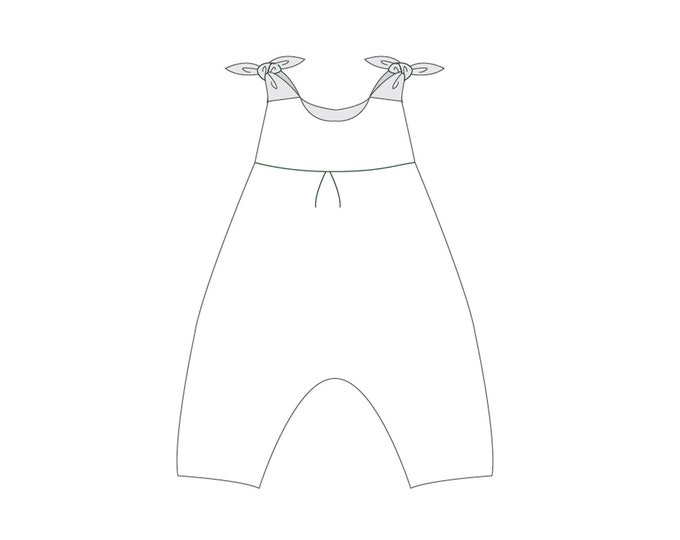 Baby overall jumpsuit dungaree sewing pattern for girls + boys with bows and padded yoke. Toddler pants 1M to 3Y LOTTE by Patternforkids