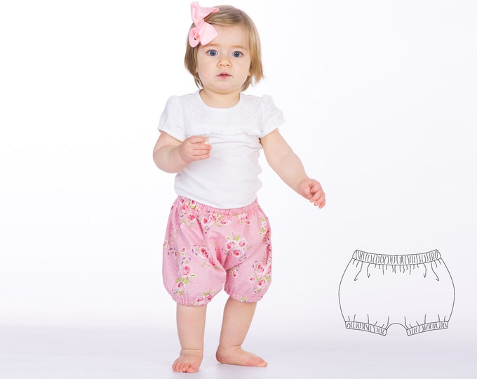 Baby diaper cover sewing pattern pdf for boys + girls without center seam. Bloomers with elastic at waistband + hem STELLA by Patternforkids