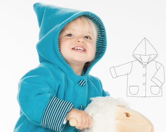 Baby jacket pattern pdf for boys and girls. Hooded cardigan toddler coat unisex ebook 1M to 3Y TORETTO by Patternforkids