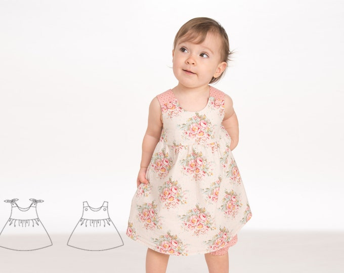 Baby Pinafore dress sewing pattern for girls with ruffled skirt. Lined girl tunic sizes 1M to 3Y. Easy pdf ebook CLARA by Patternforkids
