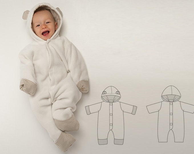 Baby Boy Girl Overall sewing pattern Pdf. Lined toddler jumpsuit with hood, Romper dungaree for carnival Ebook CASSIA by Patternforkids