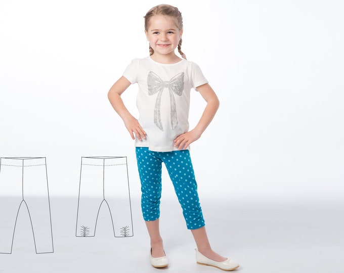 Leggings pdf pattern for baby girls + boys, easy stretch pants pattern for beginner. 2 Variants Ebook 9M to 6Y BIBI by Patternforkids