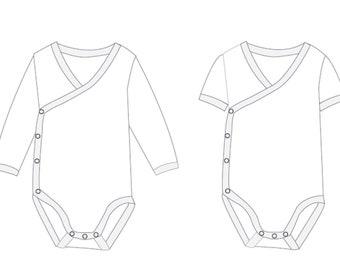 Baby wrap bodysuit long or short sleeve. Body + Romper for Preemie to 2Y easy paper pattern for beginner CIELO by Patternforkids