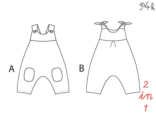 Baby Overall Sewing Pattern One Piece Jumpsuit Romper Dungaree