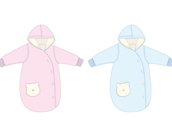 Baby sleep sack pattern lined with cuffs + hood. Kids sleeping bag Paper Pattern sizes 0M to 4Y NEVIO by Patternforkids