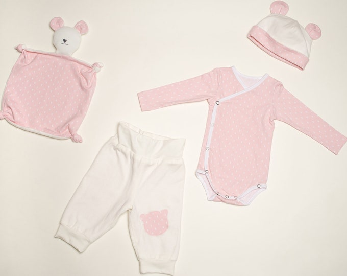 Baby Set pdf Pattern onesie bodysuit yoga pants beanie and cuddly toy for girls + boys newborn CIELO BEBE and TEDDY from Patternforkids