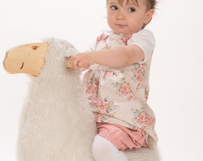 Baby girls twin set of easy pants + tunic dress sewing pattern pdf. Kids twinset combi pants + apron dress CLARA+ EMI by Patternforkids