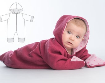 Baby jumpsuit pattern with hood + zipper, warm lined and suitable as a suit for carnival. SOLE by Patternforkids