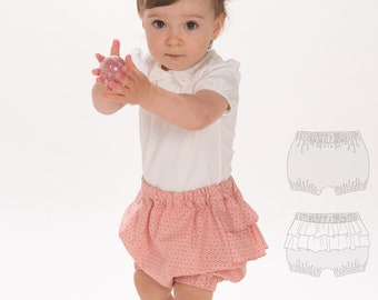 Baby diaper cover bloomers sewing pattern pdf with elastic at hem and ruffles. Pants Ebook pdf download EMI by Patternforkids