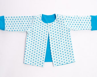 Easy reversible Baby Jersey Jacket Pattern pdf for Boy + Girl with snaps + sleeve cuffs, Lined coat for Kids FLAVIO by Patternforkids
