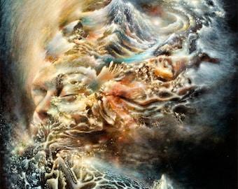 Canvas print Mind & Matter stretched visionary art by Olga Klimova great gift psychedelic festival Burning Man spirituality yoga meditation