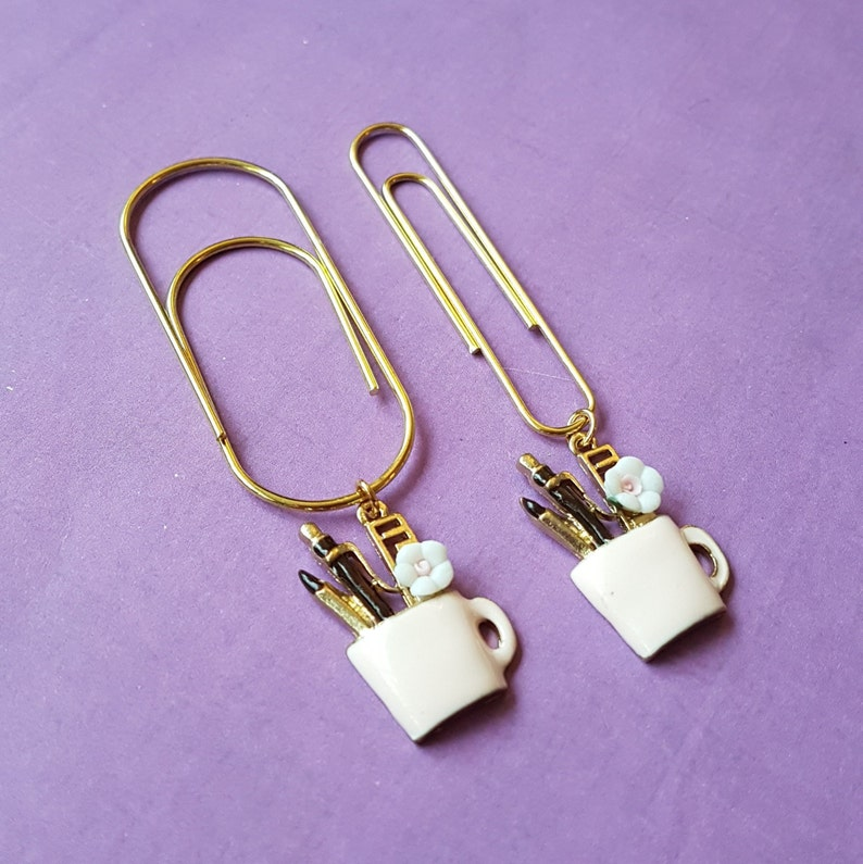 Stationery cup pendant on a gold paperclip (normal or wide)