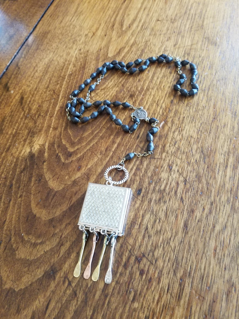 lariat locket rosary beads 20 inches long one-of-a-kind long SECRET BOX...salvage mixed metals silver necklace black