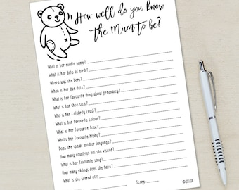 Baby shower game pre-filled template: How well do you know the mum to be? - pink