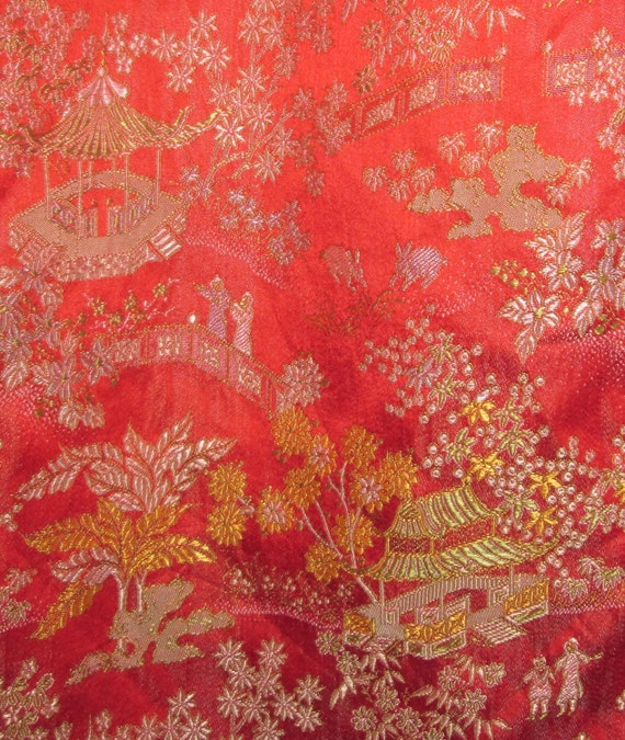 60s mini asian clothes red skirt size large 10