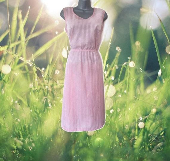 1970s vintage midi pastel pink stripes sleeveless