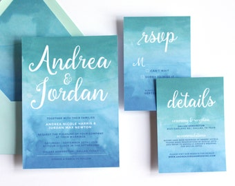 Blue Ombre Watercolor Wedding Invitation Suite / Beach Theme Wedding / 5x7 Invitation / Digital Printable