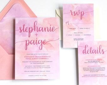 Pink Peach Watercolor Wedding Invitation Suite / Same Sex Wedding Invitation / 5x7 Invitation / Digital Printable