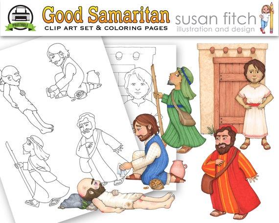 Páginas de arte y para colorear de clip buen samaritano | Etsy