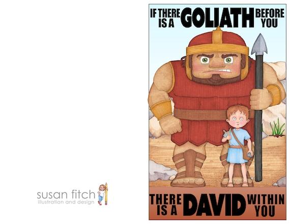 David & Goliath printable illustration | Etsy