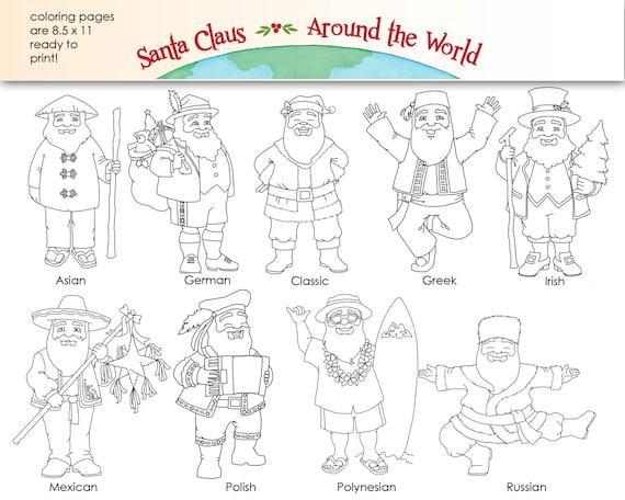 santa claus around the world digital clip art coloring pages etsy