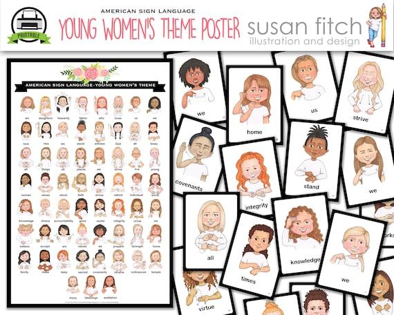 Tema cartel y cartas de mujeres jóvenes de ASL | Etsy