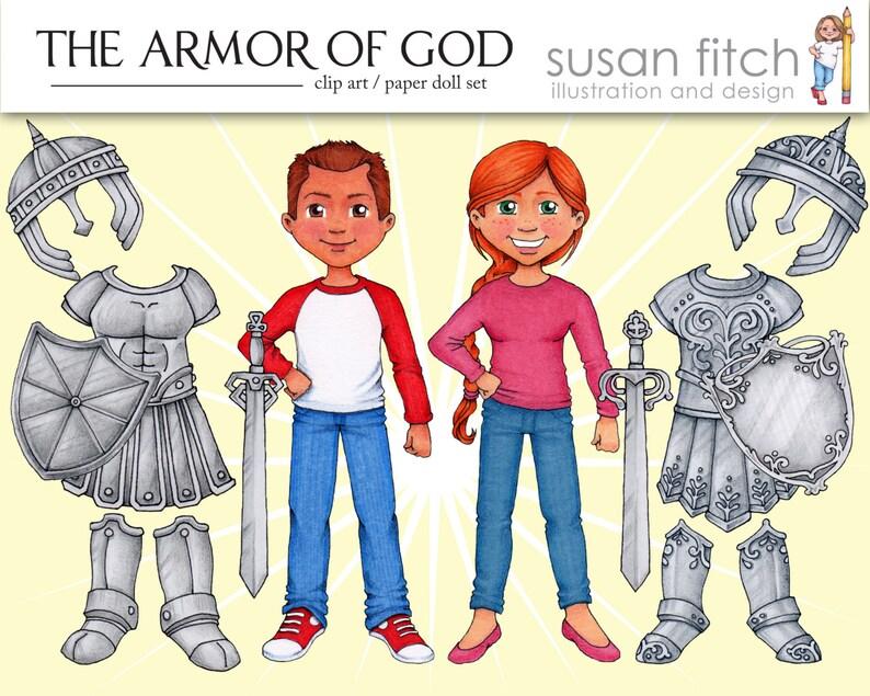 Armor Of God Clip Art Paper Doll Set Etsy
