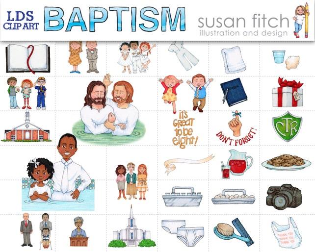 LDS bautismo Clip arte conjunto | Etsy
