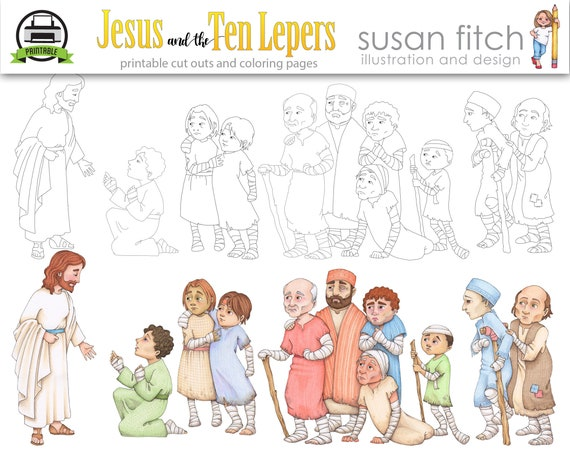 Jesus and the Ten Lepers clip art and coloring pages | Etsy