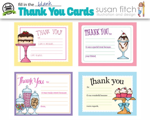 fill in the blank thank you cards etsy