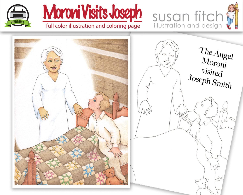 Ángel Moroni visitas José Smith la ilustración y la página | Etsy