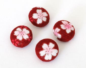 Red buttons, Set of 4 fabric buttons, handmade fabric buttons, Japanese buttons, blossom fabric buttons, 12mm buttons with hank backs