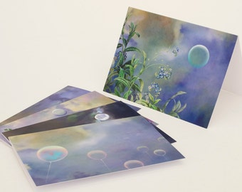 Greeting card set, thank you card set, set of note cards, set of 5 blank cards, theme of clouds/moon/flowers/balloons + charity donation