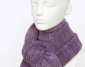 Hand knit silk scarf, lilac lace knit scarf, silk/extrafine merino yarn blend, open weave knit scarf, mauve wrap scarf + charity donation