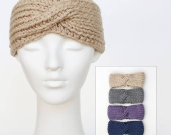 Chunky knit headband, hand knit headband, turban twist headband, ear warmers, 4 colours to choose from, women's hairband +charity donation